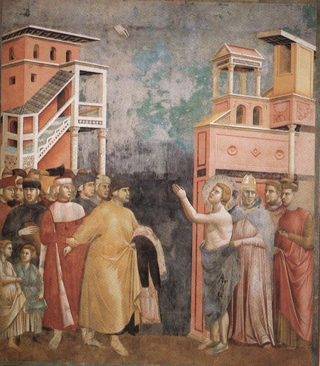 Giotto, San Francesco rinuncia alle vesti