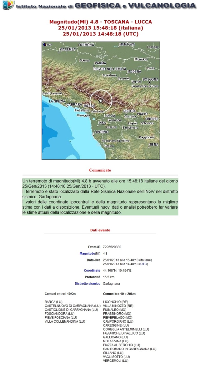 terremoto in garfagnana ingv