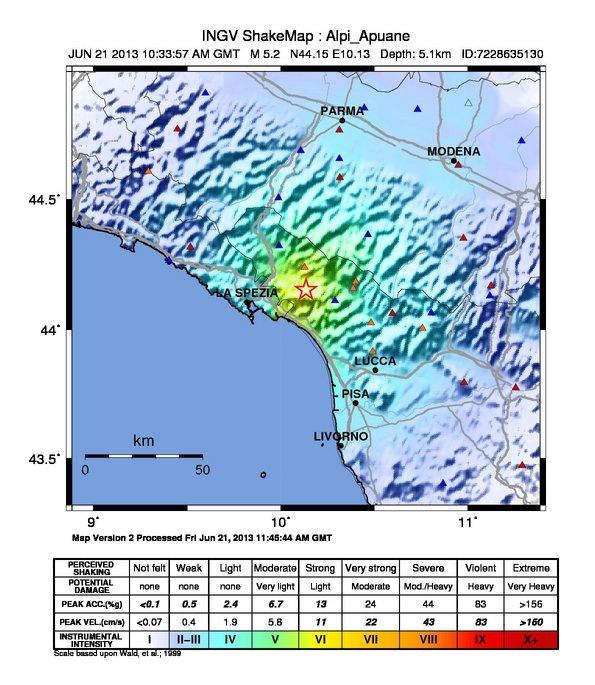 Evento sismico tra le province di lucca e massa for Ingv lista terremoti di oggi