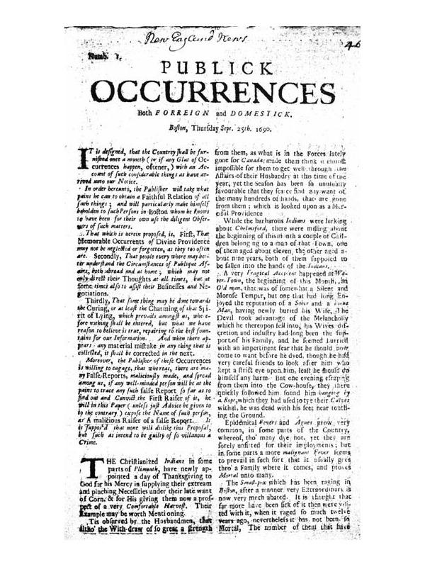 PUBLICK OCCURRENCES Both F O R R E I G N and D O M E S T I C K.