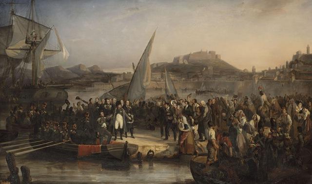 Napoléon Ier quittant l'ile d'Elbe puor revenir en France, s'embarque dans le port de Portoferraio