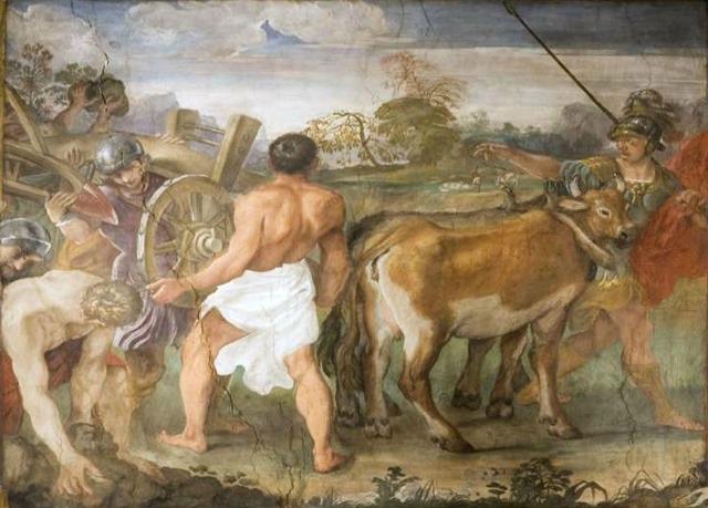 Romolo traccia con l'aratro il confine della città di Roma Carracci
