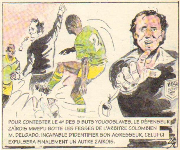 Dessin coupe du monde 1974 MWEPU frappe l'arbitre DELGADO