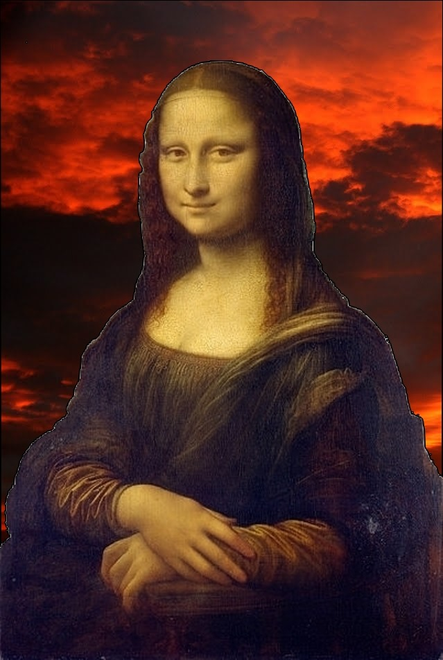 Gioconda on red sky