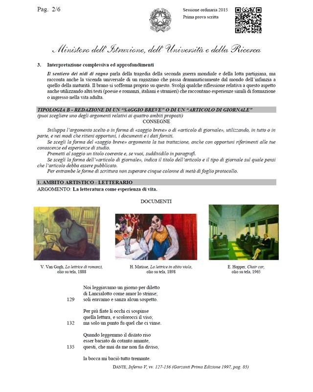 prova di italiano 2015 2