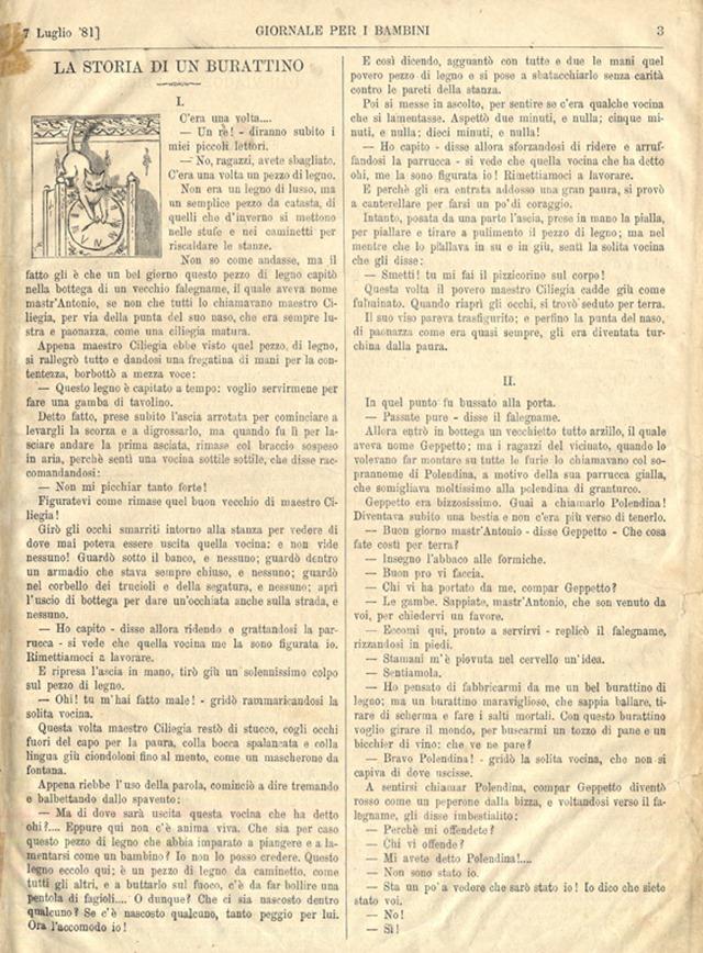 la storia di un burattino 7 luglio 1881