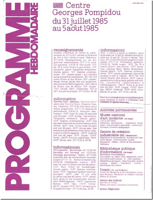 programme centre pompidou 19851