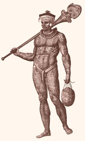 guerriero tatuato delle isole Marchesi, XIX secolo