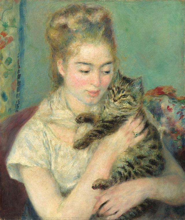Pierre-Auguste_Renoir_-_Femme_au_chat 1875